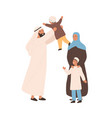 happy traditional arabic family flat vector image