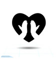 heart black icon love symbol the vector image