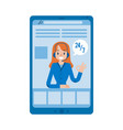 hotline support online female assistant vector image