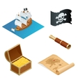 Isometric Pirate accessories flat icons vector image