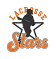 logo design lacrosse stars with with silhouette vector image