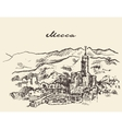 Mecca Saudi Arabia skyline drawn sketch vector image vector image