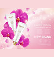 orchid essence cosmetics products vector image vector image