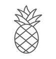 pineapple thin line icon fruit and food tropical vector image vector image