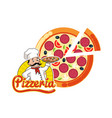 pizzeria logo pizza italian dish slice and chef vector image