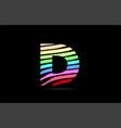 rainbow d alphabet letter stripes logo icon design vector image