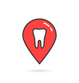 red thin line icon dental geolocation vector image vector image