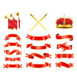 ribbons and swords icons set vector image vector image