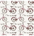 Seamless with hand drawn bicycles vector image