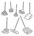 set broom and cleaning mop vector image