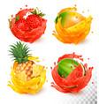 set fruit juice splash mango strawberry vector image vector image
