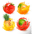 set of fruit juice splash mango strawberry vector image vector image