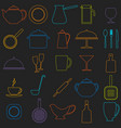 set of linear icons of kitchen ware vector image vector image