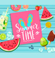 summer time lettering on blue wooden background vector image vector image