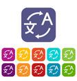 translating icons set vector image vector image