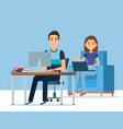 young couple in the workplace avatars characters vector image