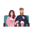 young man and woman in 3d glasses watching film or vector image