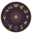 zodiac wheel on starry sky sun moon and stars vector image