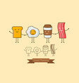 a coffee eggsham and toast vector image