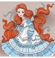 Art Redhair Girl In Blue Dress vector image