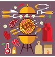 Bbq Flat Icons Concept Set vector image vector image