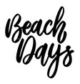 beach days lettering phrase on white background vector image vector image