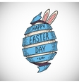 Blue color spiral ribbon and Easter egg vector image