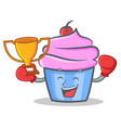 boxing cupcake character cartoon style winner vector image vector image