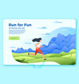 bright banner template with running girl vector image vector image