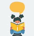 cartoon little girl reading book vector image vector image