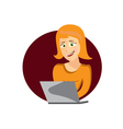 cartoon young woman with laptop vector image vector image