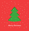 christmas card with a green christmas tree vector image