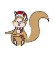 christmas squirrel animal character with hat scarf vector image vector image