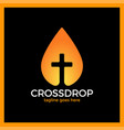 cross drop logo - christ blood logotype vector image