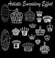 crown embroidery set vector image