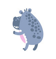 Cute cartoon hippo character standing back view