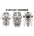 design set with fantasy crosses 2 vector image
