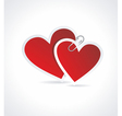 Double Red Heart Paper Sticker vector image