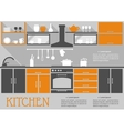Flat kitchen interior design vector image vector image