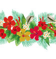 flowers leaves decorative strip white background vector image vector image