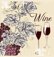 grunge poster with wine and grapes vector image
