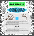 hand drawn menu for cafe with breakfast menu vector image vector image