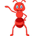 happy ant cartoon presenting vector image vector image