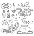 Happy halloween set with pumpkins ghosts spiders