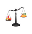 healthy and unhealthy food on scale vector image