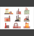 industrial factory buildings set modern power vector image vector image