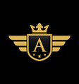 letter a initial wing with shield and crown luxur vector image vector image