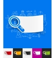 magnifier paper sticker with hand drawn elements vector image