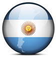 Map on flag button of Argentina vector image