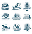 mermaid silhouette stylized logos vector image vector image